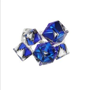 Square candy blue crystal silver ring